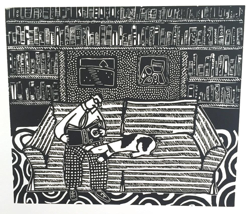 "Library , linocut, 17 1/2"" x 15"", $75"