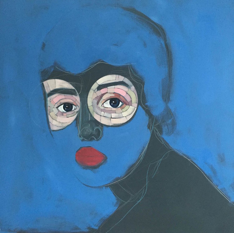 "Blue Baby , oil, acrylic and colored pencil on canvas, 48"" x 48"", $2,400"