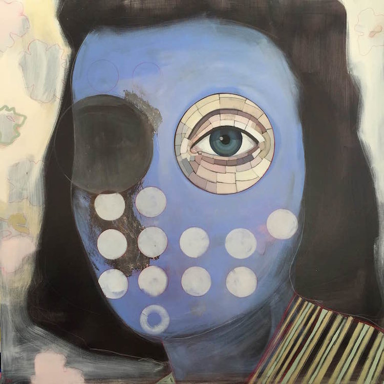 "Borrowed Eyes , oil, acrylic and colored pencil on canvas, 48"" x 48"", $2,400"