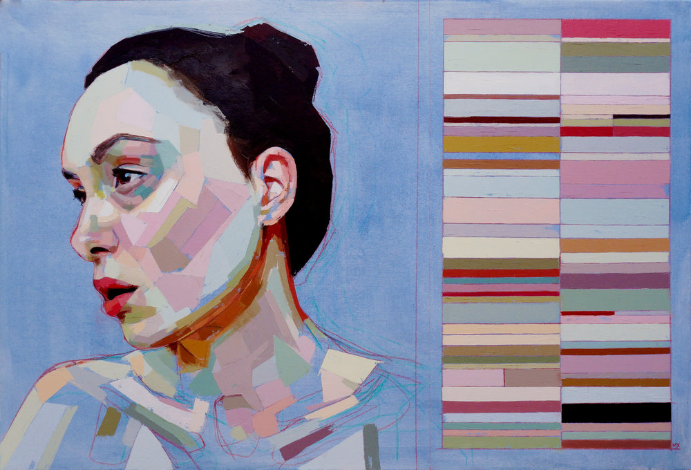 """Skye and Her Swatches , oil, acrylic and colored pencil on canvas, 24"""" x 36"""", $2,000"""