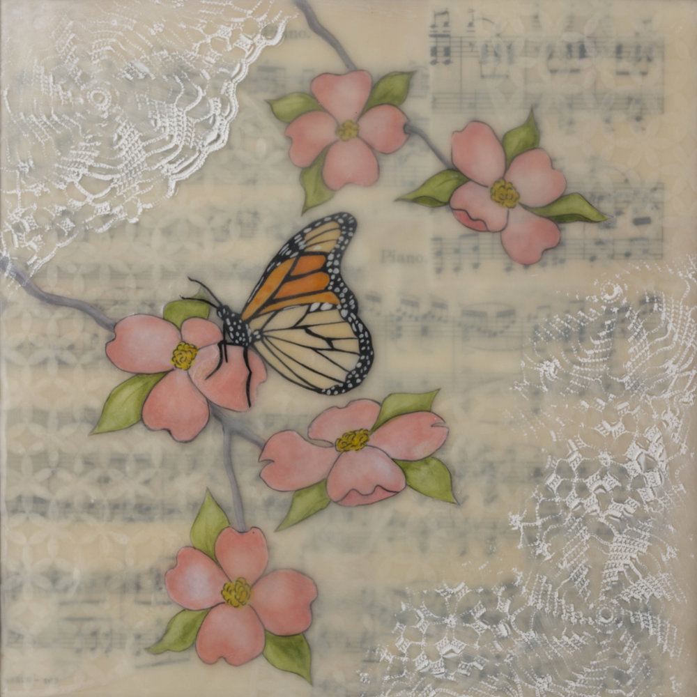 "Dogwood and Monarch , encaustic, watercolor on paper collage, vintage sheet music, paper doily, and oil stick on a birch panel with reclaimed beach fence frame, 10 1/2"" x 10 1/2"", $350"