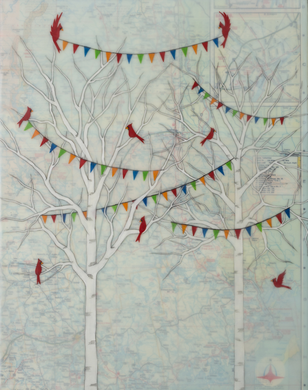 "Celebration Season , encaustic, rice paper, gouache and vintage map on a birch panel with reclaimed beach fence frame, 14"" x 11 1/2"", $475"