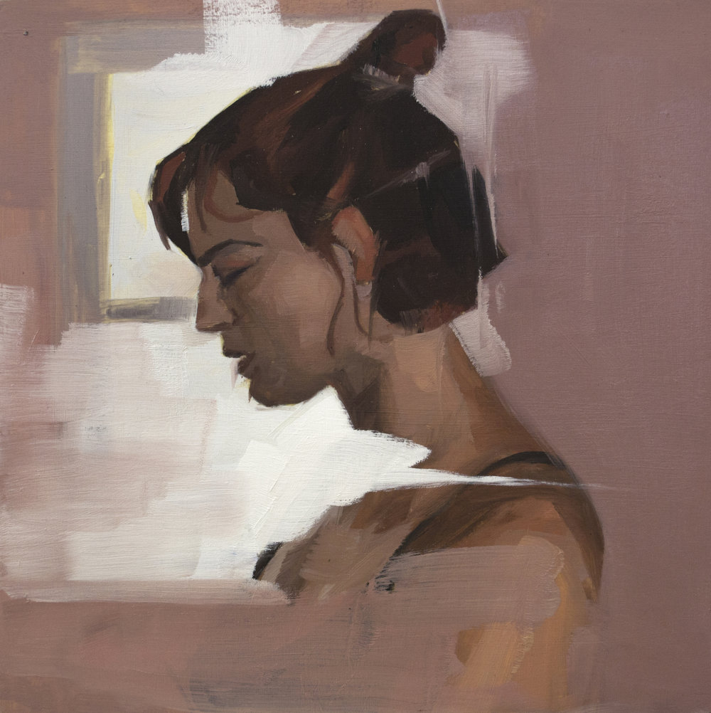 "The Light Pressed Up Against My Shoulder Blade , oil on panel, 8"" x 8"", sold"