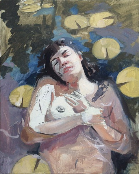 "Self-Portrait as Ophelia , oil on canvas, 30"" x 24"", sold"