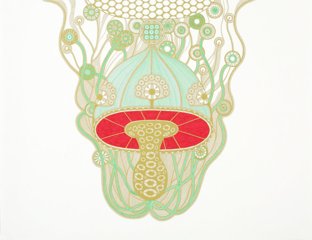 "Green Chandelier #1 , gold and colored ink on white paper, 25 3/4"" x 30 1/4"" framed"