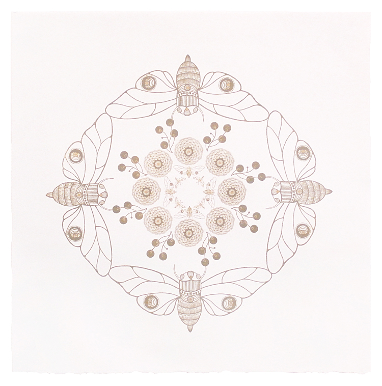 "Mandala A , photo lithograph, gold ink on white paper, 15"" x 15"" framed"