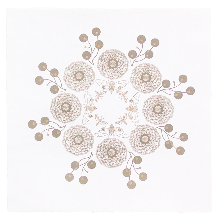 "Mandala B , photo lithograph, gold ink on white paper, 15"" x 15"" framed"