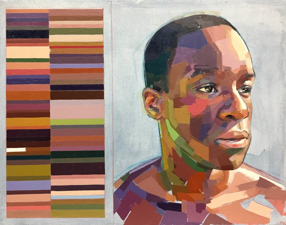 """Fhiwa and His Swatches , oil, acrylic and colored pencil on canvas, 22"""" x 28"""", $2,000"""