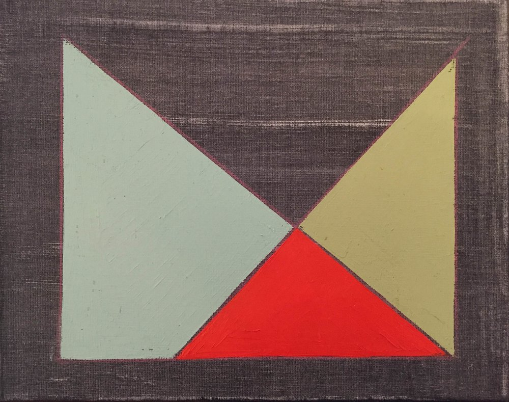 "Color Study on Black No. 5 , oil, acrylic and colored pencil on canvas, 8"" x 10"", $250"