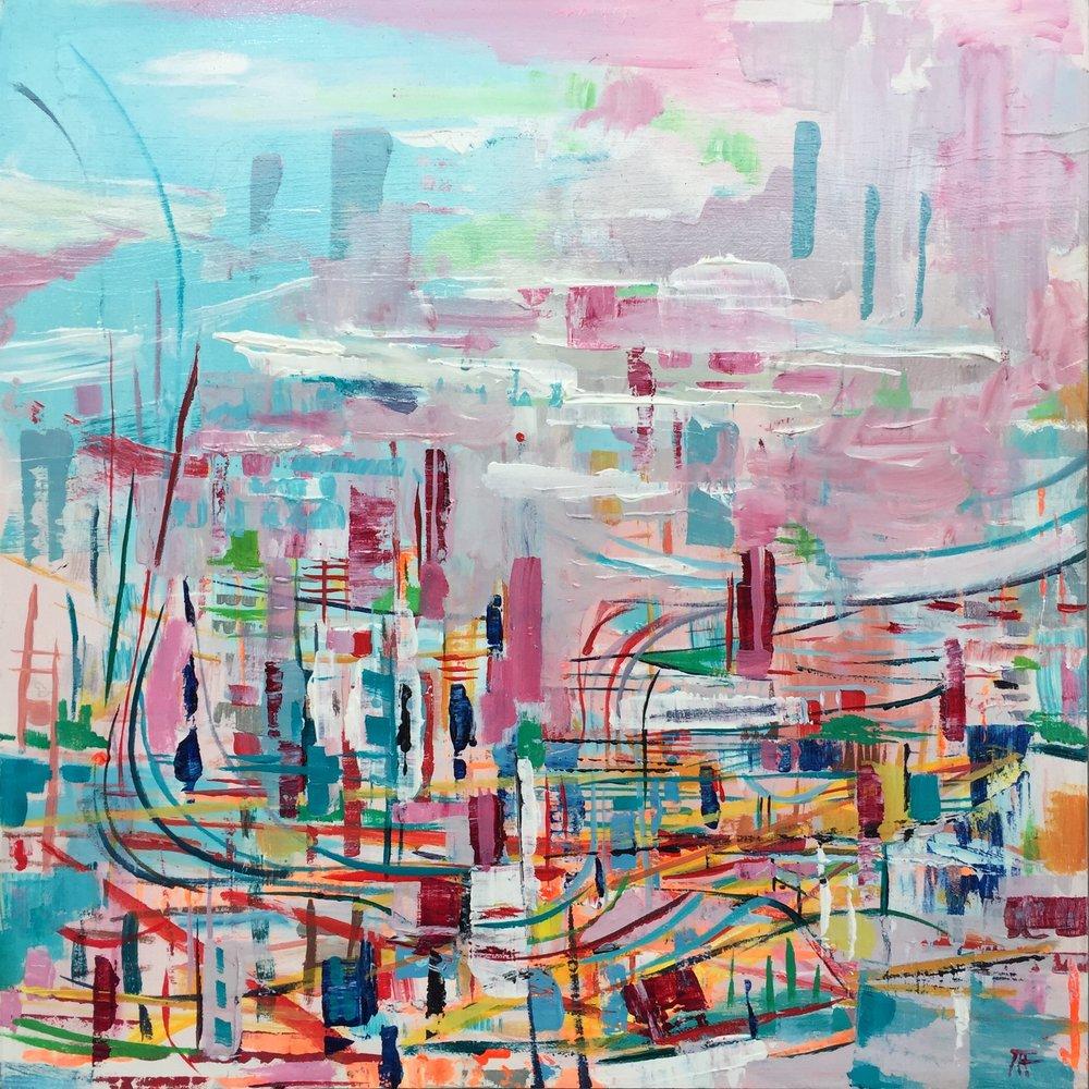 "Sky Harbor , acrylic on panel, 12"" x 12"", $450"
