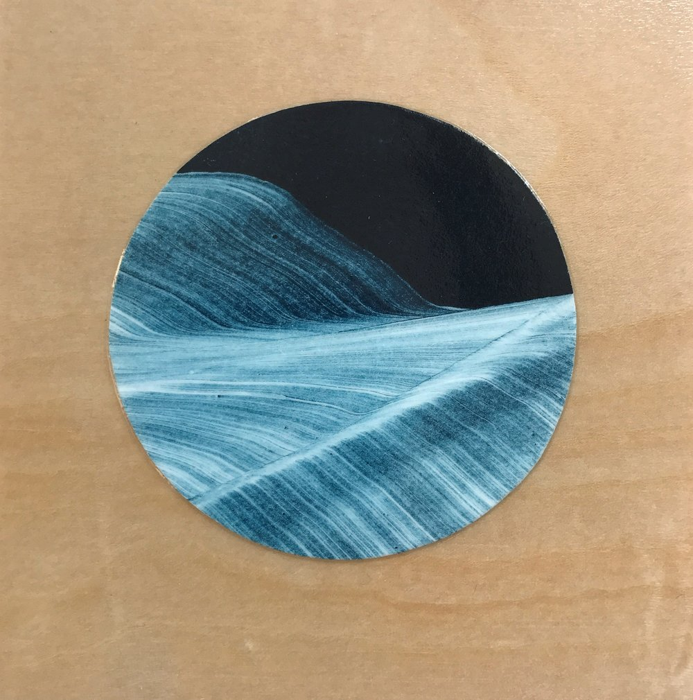 "Portal 2 , collaged gelatin plate monotype mounted on wood, 4"" x 4"", $175"