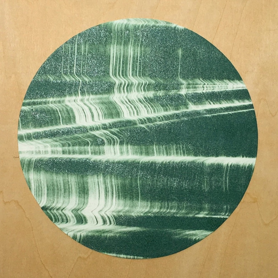 "Portal 4 , collaged gelatin plate monotype mounted on wood, 6"" x 6"", $250"