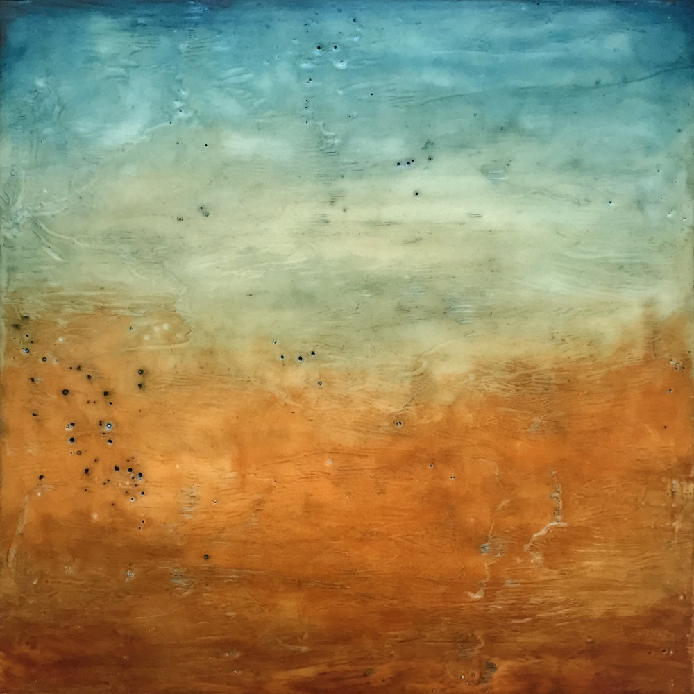 "Fall Field , encaustic and oil on panel, 12"" x 12"" framed, $550"