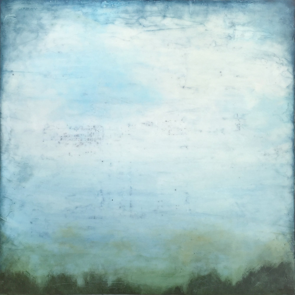 """Clearing , encaustic and oil on panel, 24"""" x 24"""" framed, $1,500"""