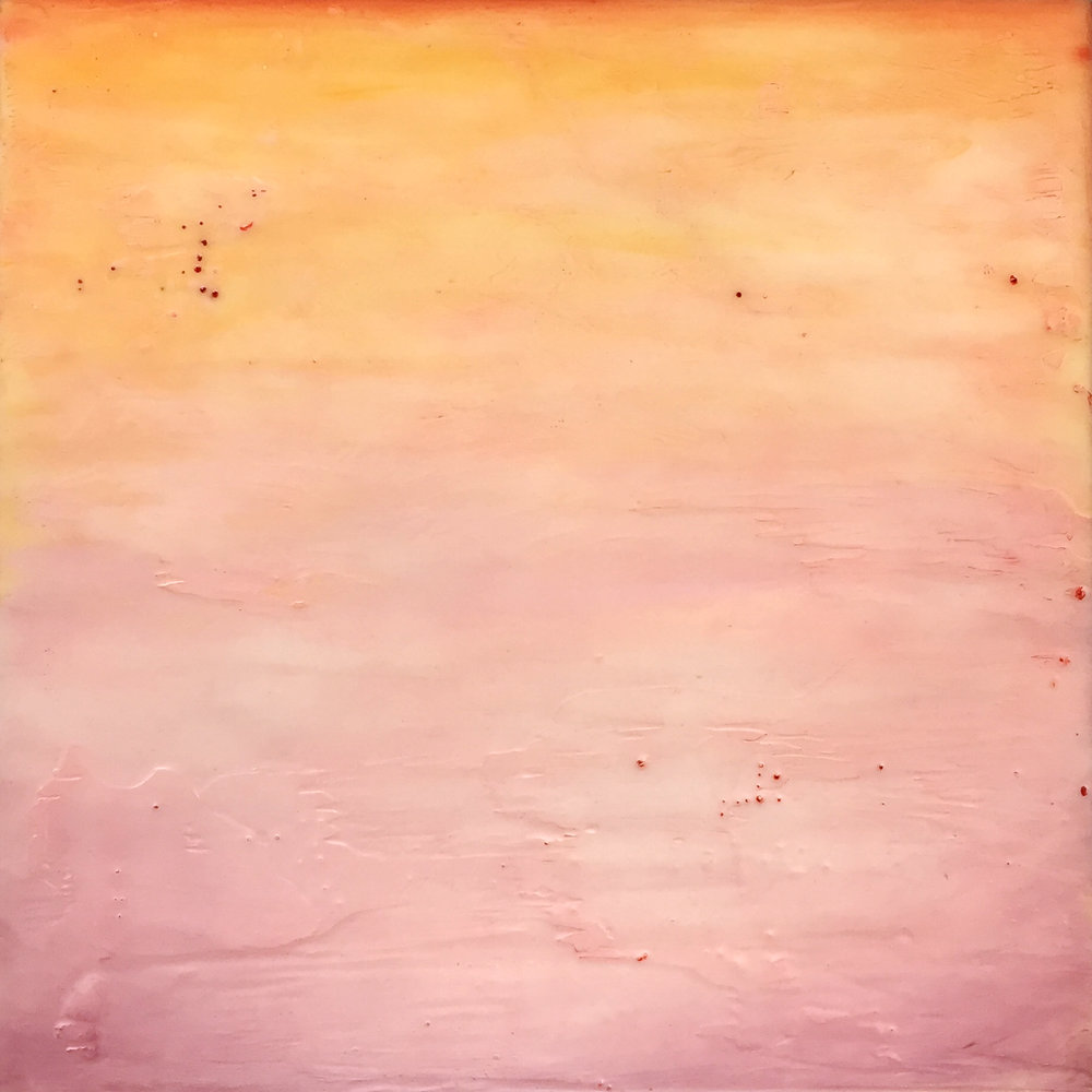 """Pale Sunset , encaustic and oil on panel, 12"""" x 12"""" framed, $550"""