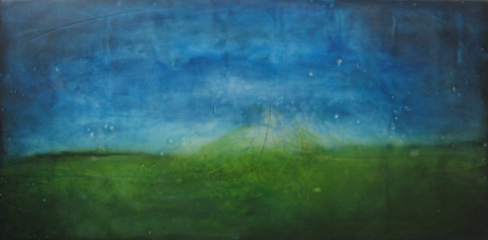 """Scape 18 , encaustic and oil on panel, 12"""" x 24"""" framed, $850"""