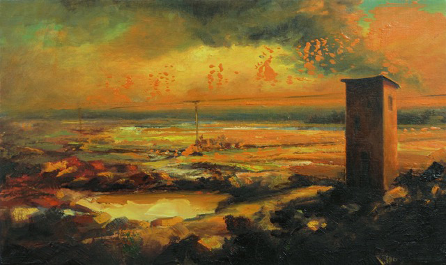 """Landscape/Tower (1706) , oil on canvas, 12"""" x 20"""", sold"""