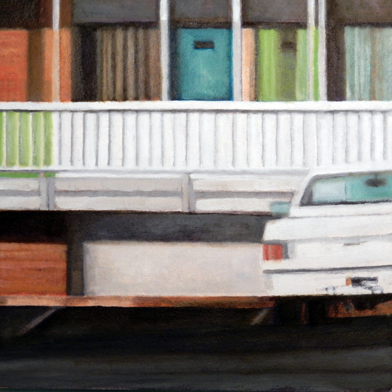 "Albuquerque Pick-up   , oil on panel, 9 1/4"" x 9 1/4"" framed, $350"