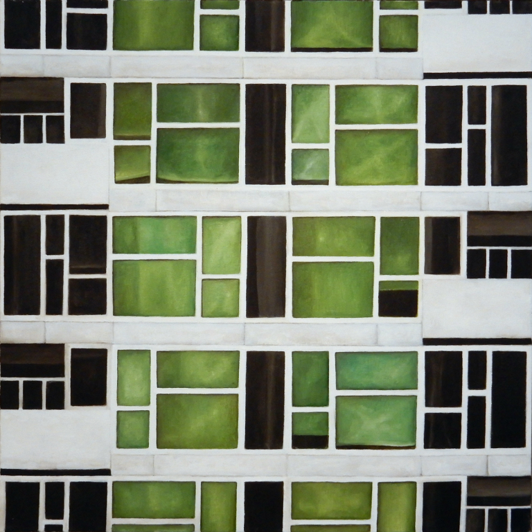 "Modular Hi-rise 1   , oil on canvas, 27 3/4"" x 27 3/4"" framed, $1,500"