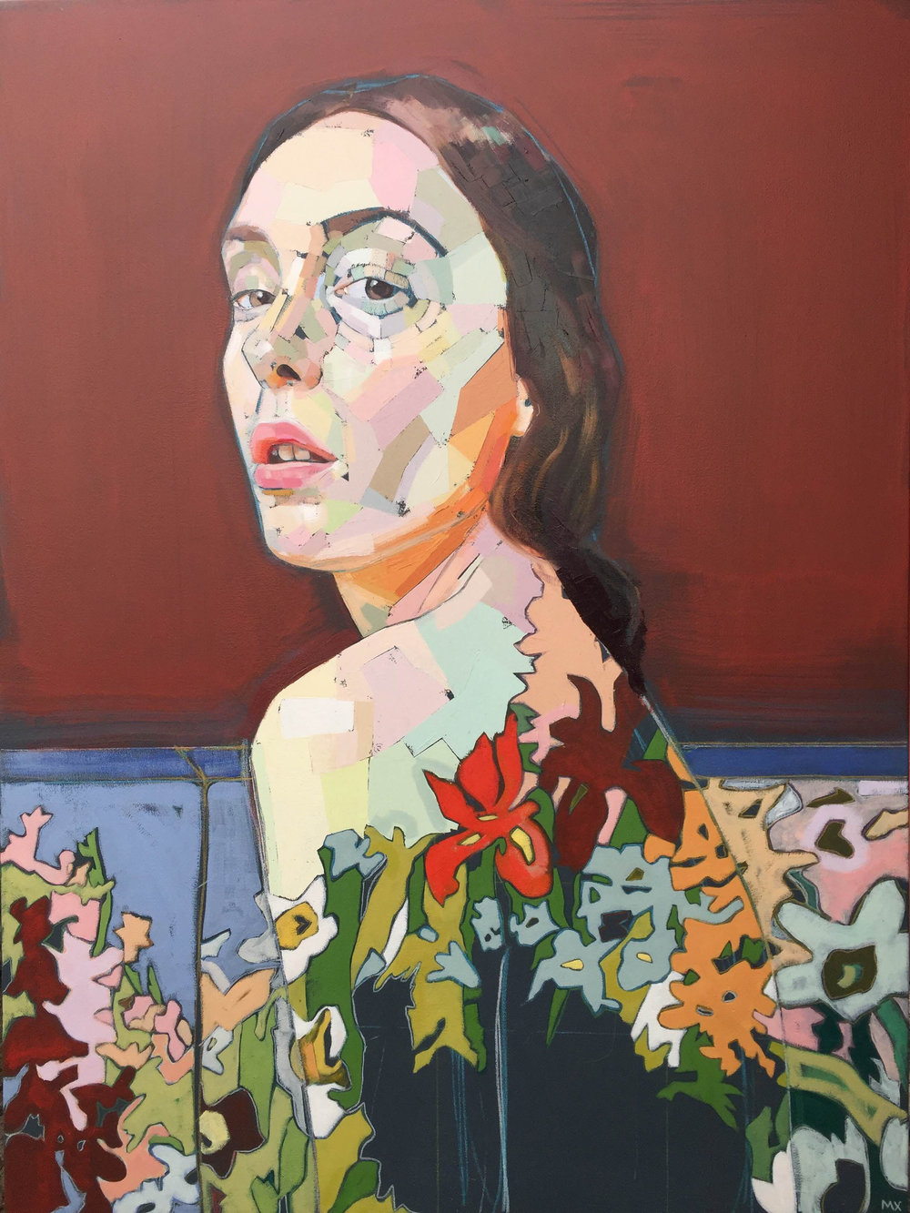 "Mia Cross,  The Girl Who Sat on the Couch Too Long , oil, acrylic, and colored pencil on canvas, 48"" x 36"", $2,400"