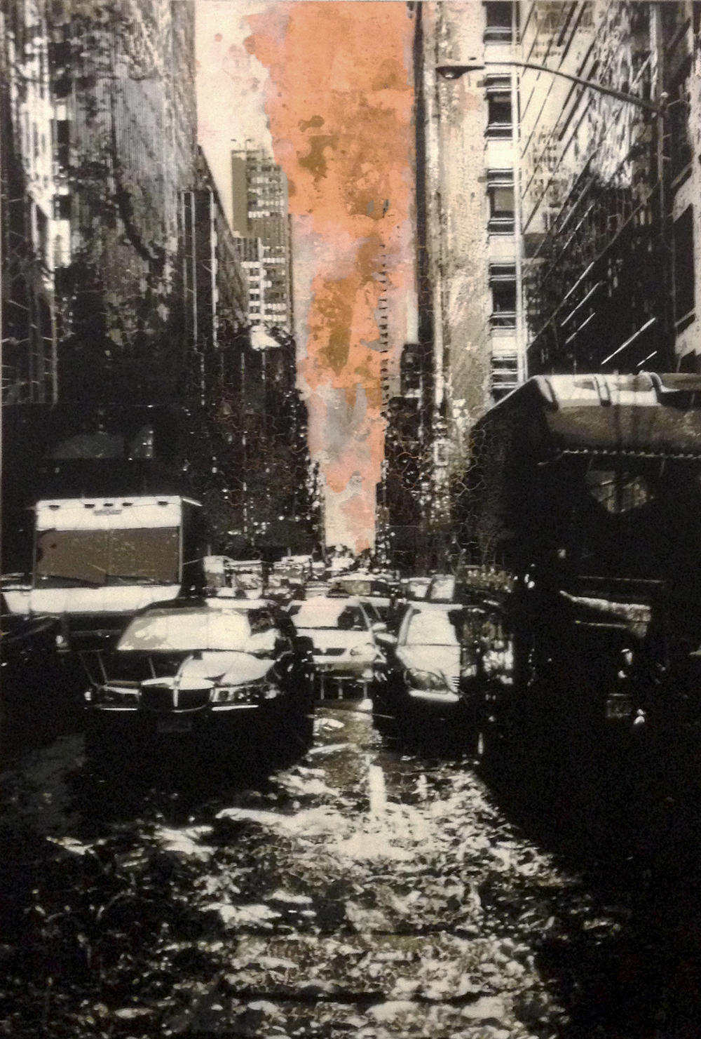 "Kenji Nakayama,  Concrete Jungle #4 (copper) , copper leaf and hand-cut, multi-layered stencils with spray paint on panel, 42"" x 28"", sold"