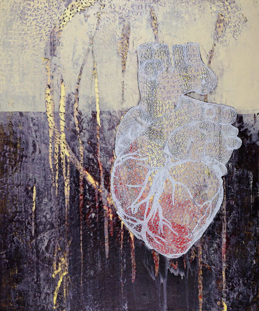 "Frosty Heart , screen printed oil and wax on linen over panel, 38"" x 28"", $2,800"