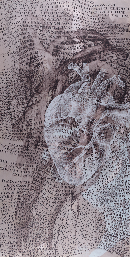 "Babble Heart , screen printed oil and wax on linen over panel, 48"" x 24"", $3,200"