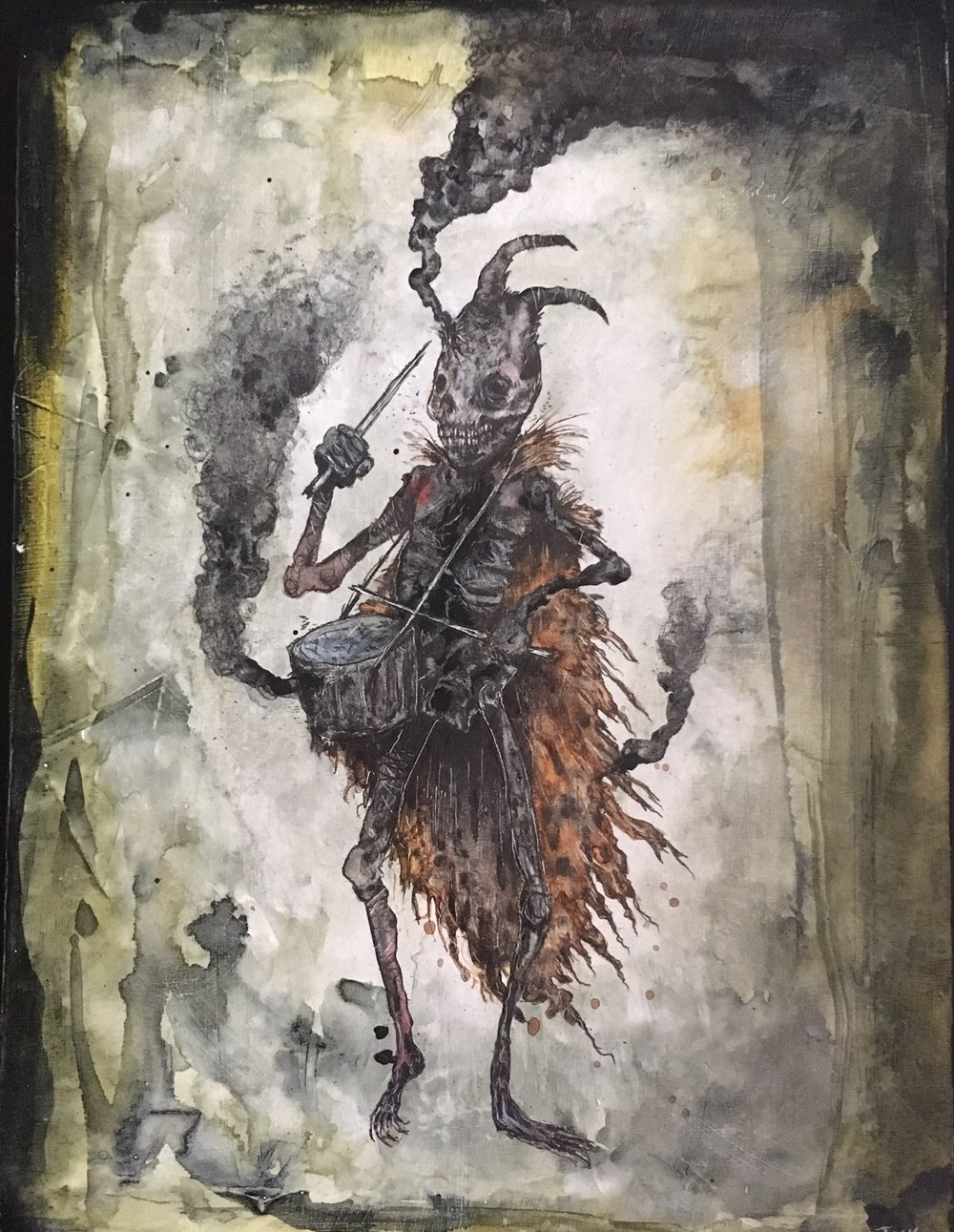 "Infernal Drummer of Fallen Champions beating a sound to crack the earth , acrylic, ink, graphite, pencil, and pastel on wood panel, 8"" x 6"", $325"