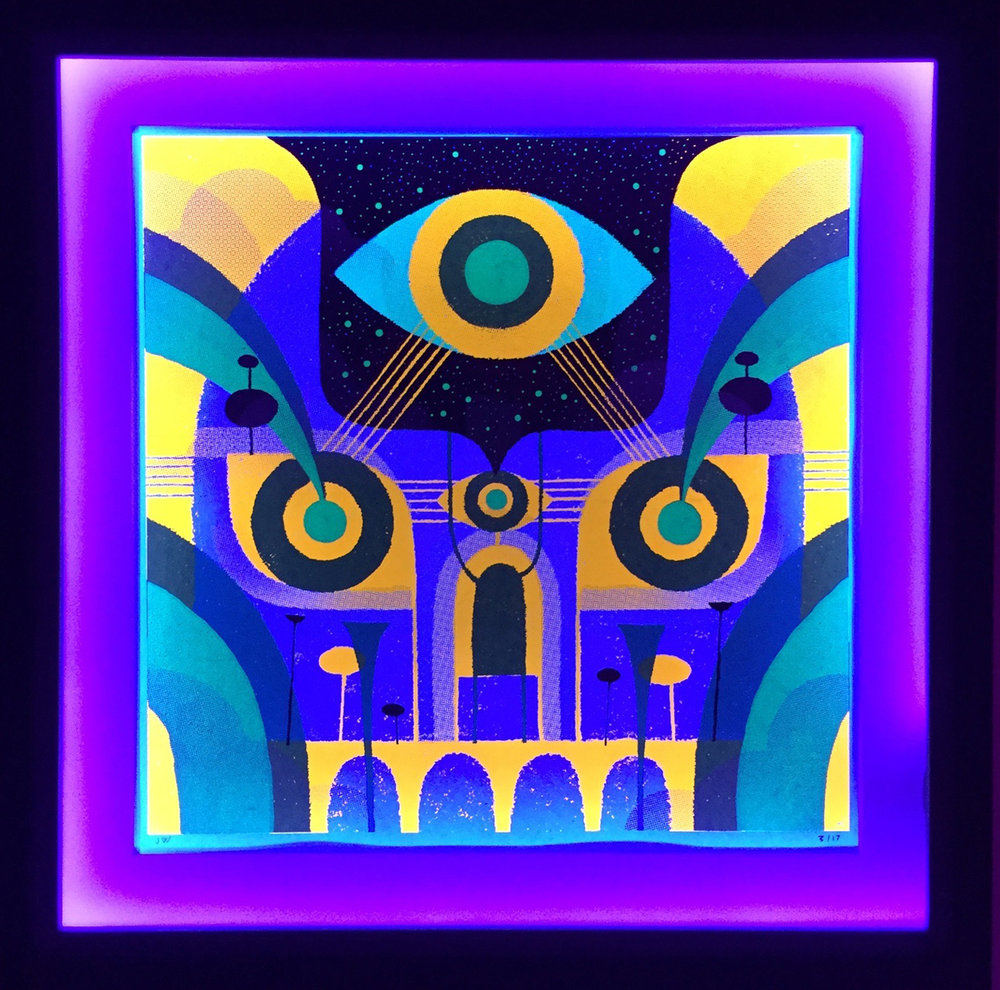 "A New Age , 7-color limited edition silkscreen framed with LED blacklights, 21 3/4"" x 21 1/2"" framed, $750"