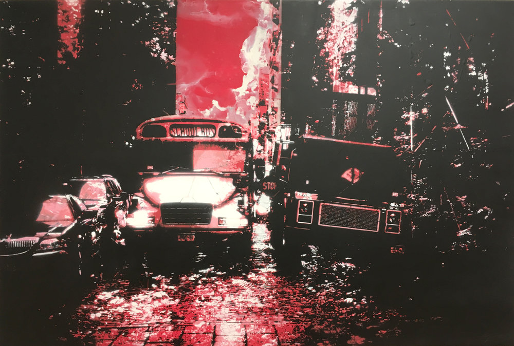 """Concrete Jungle #3 (Red) , hand-cut, multi-layered stencils with spray paint and enamel on panel, 28"""" x 42"""""""