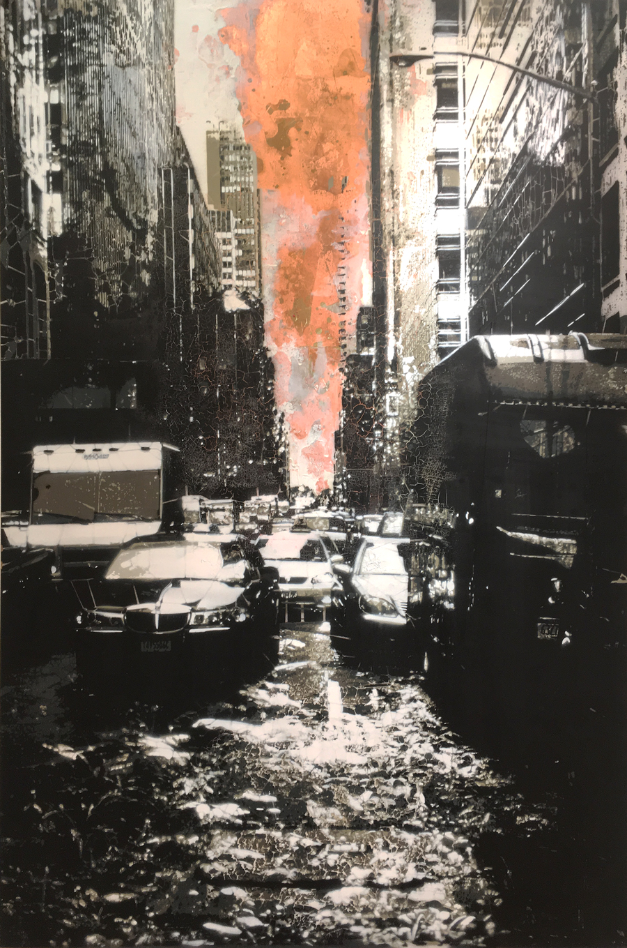 "Concrete Jungle #4 (Copper) , copper leaf and hand-cut, multi-layered stencils with spray paint on panel, 42"" x 28"", sold"