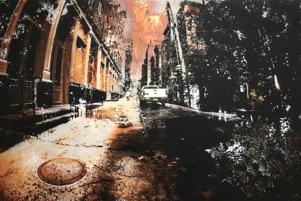 "Concrete Jungle #5 (Copper) , copper leaf and hand-cut, multi-layered stencils with spray paint on panel, 28"" x 42"", $6,500"