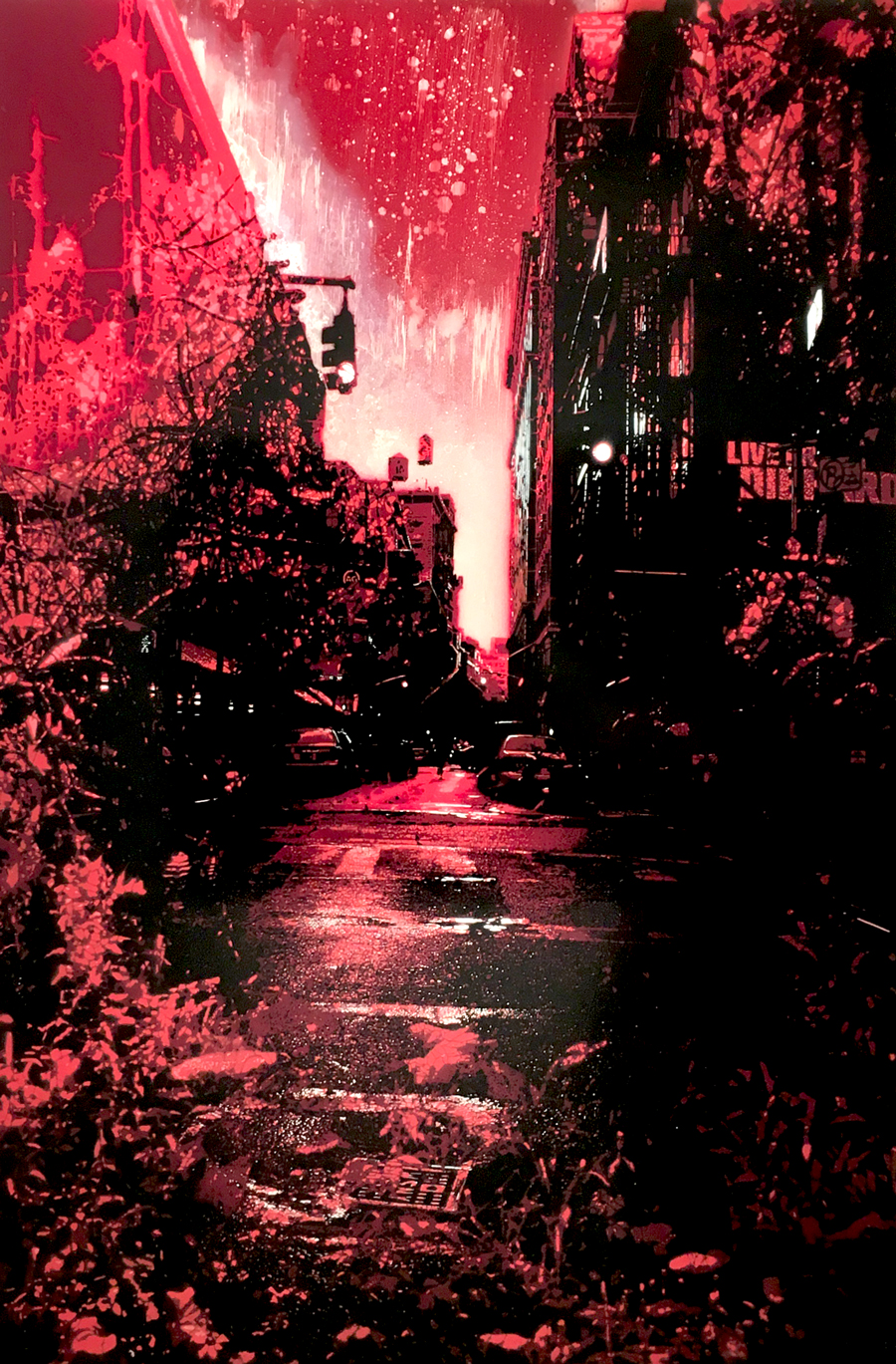 """Concrete Jungle #2 (Red) , hand-cut, multi-layered stencils with spray paint and enamel on panel, 36"""" x 24"""", $4,000"""