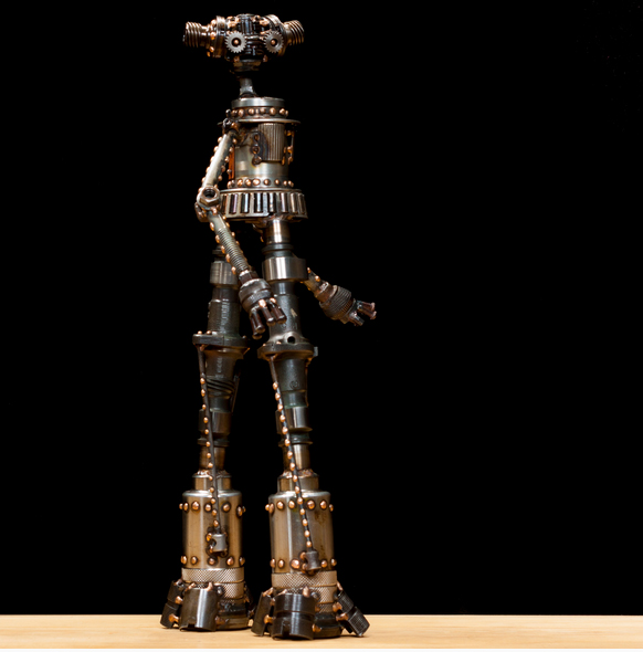 "Stormy #324 , Mercury-class astrobot, re-purposed bicycle parts, motorcycle camshafts, bearing race, lag bolt, trailer pin, rivets, nuts, bolts, washers, copper, bronze, 19½"" x 11"" x 6"", sold"