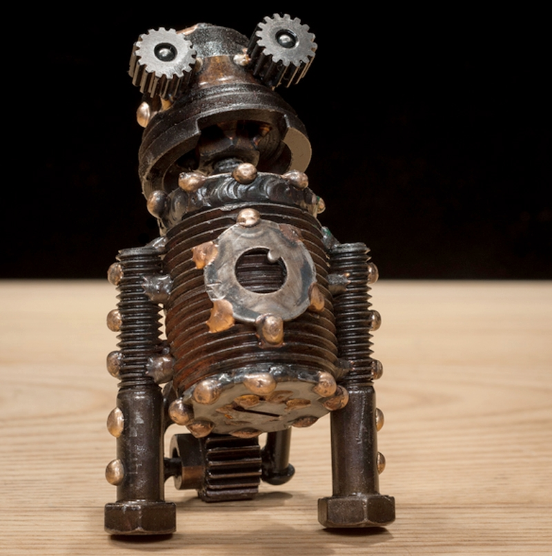 "Kit #321 , Neutrino-class astrobot, bicycle parts, bolts, threaded pipe, washers, rivets, screw, wing nut, copper, bronze,  4"" x 2 ½"" x 2 ½"", $250"