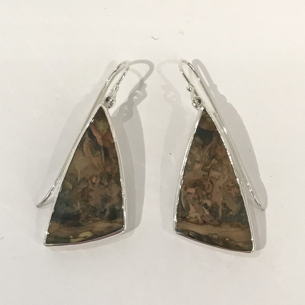 Sterling silver earrings set with Morrisonite jasper, $140