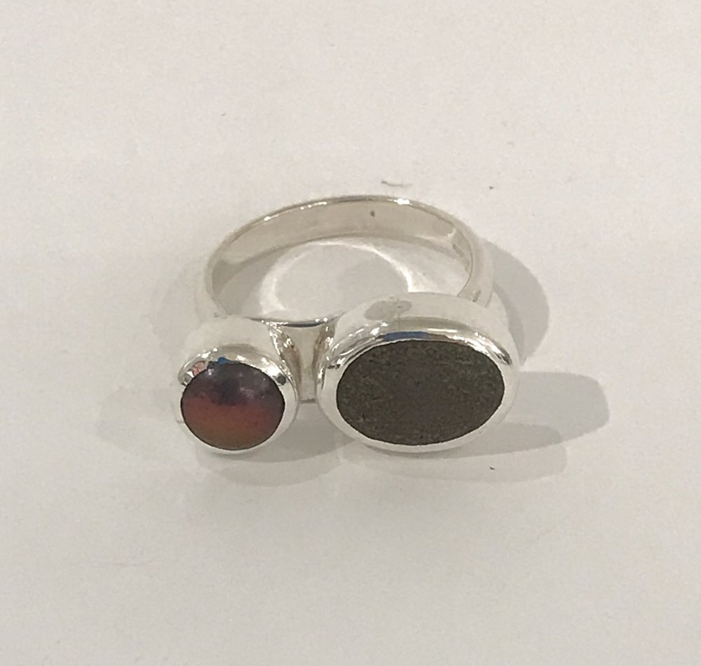 Sterling silver ring set with beach stone and bronze purple freshwater pearl, size 6 3/4, $140
