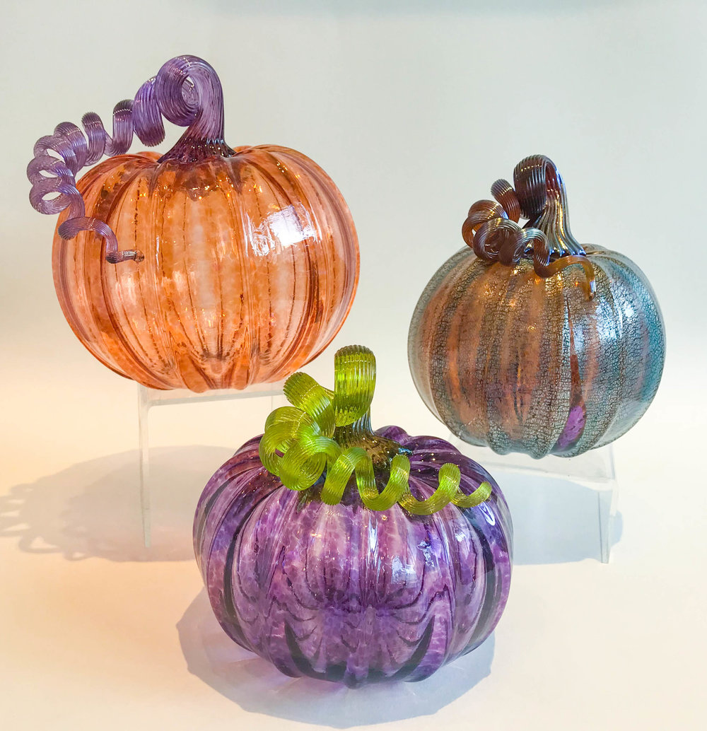 Glass Pumpkins , hand blown glass, assorted sizes and colors, $45 - $65