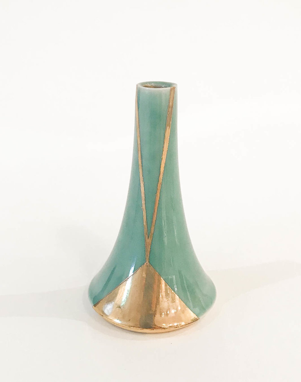 "Small Volcano Vase , wheel-thrown porcelain, celadon with gold luster geometric design, 3 3/4"" x 2 1/4"", sold"