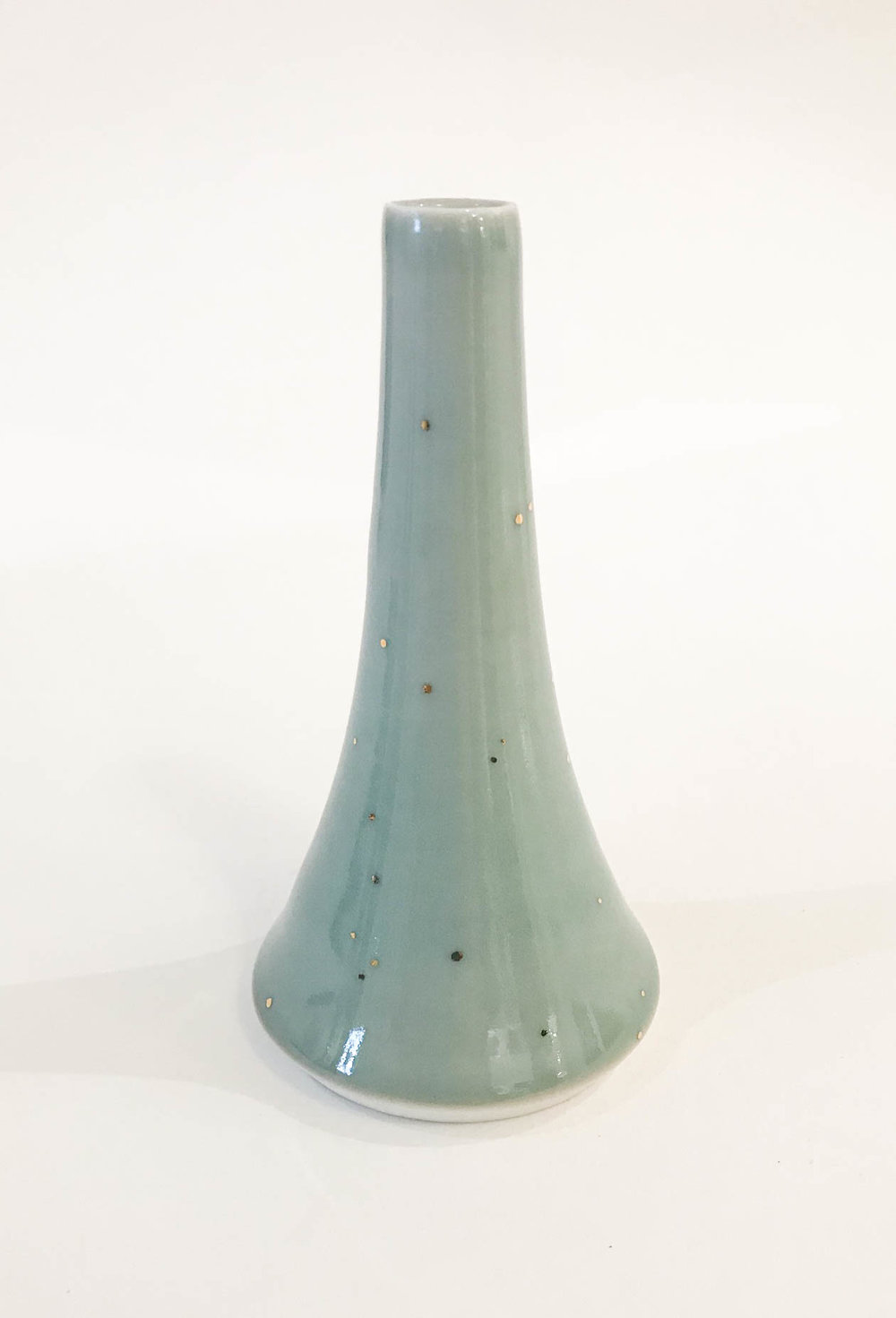 "Small Volcano Vase, wheel-thrown porcelain, celadon with gold luster speckle, 4 1/2"" x 2 3/4"", $110"