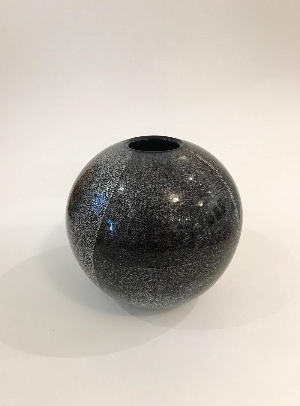 """Orb Vase , handblown black glass with silver leaf, 6 1/2"""" x 6 1/2"""" x 6 1/2"""", $265"""