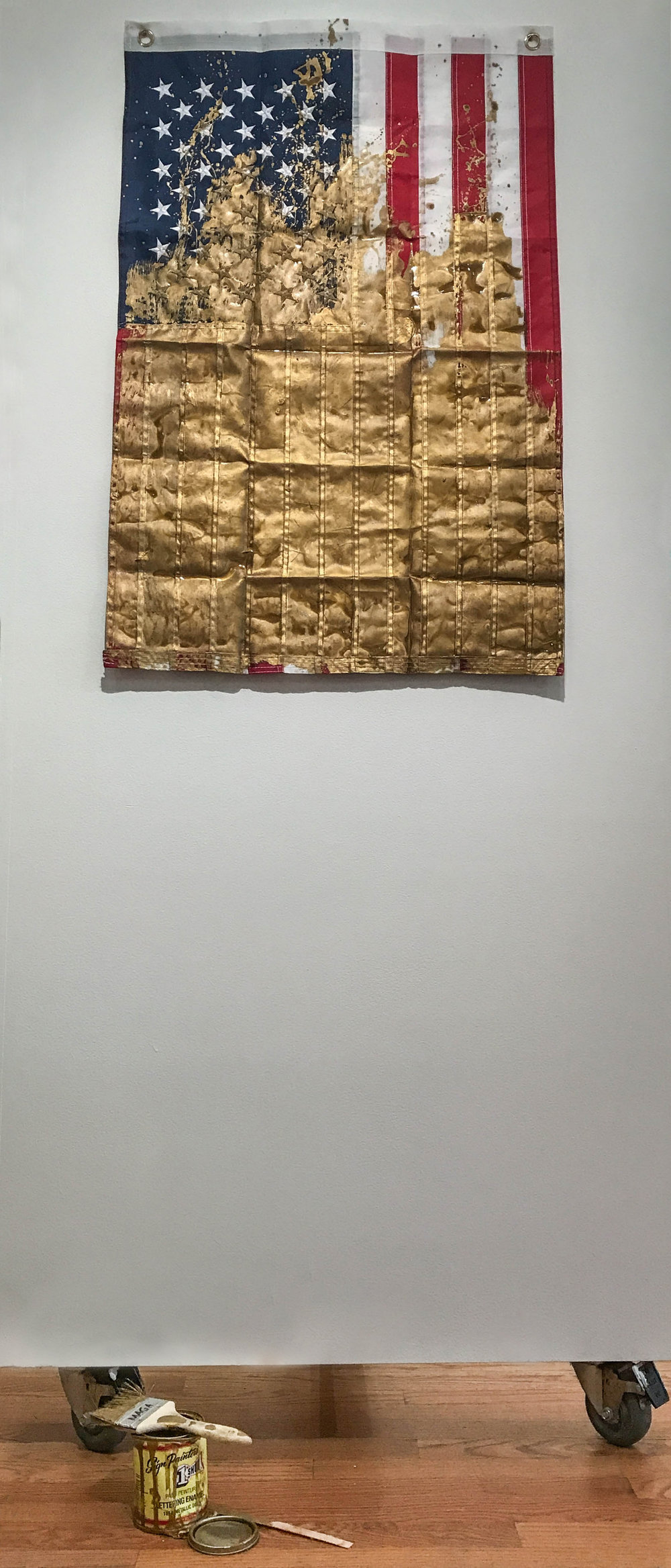 "MAGA Flag , rip-stop nylon, enamel, and mixed media, 76"" x 24"" x 4"", $500"