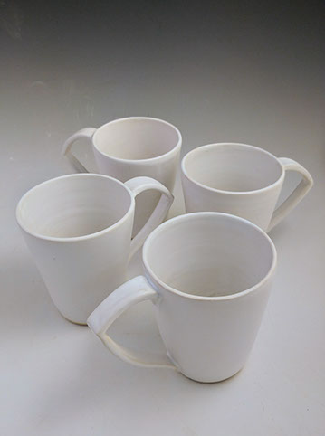 Large white mugs, hand-thrown stoneware, $42 each