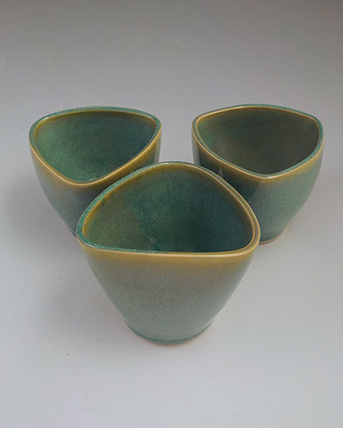 Green triangular tumbler, hand-thrown stoneware, $28 each