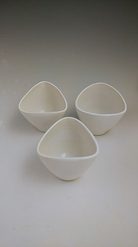 White triangular tumbler, hand-thrown stoneware, $28 each