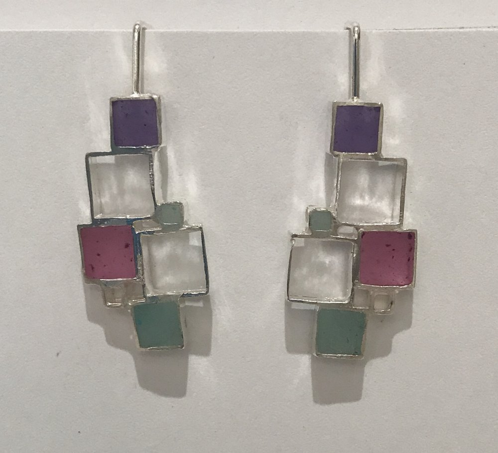 Open square earrings , sterling silver and resin, $95