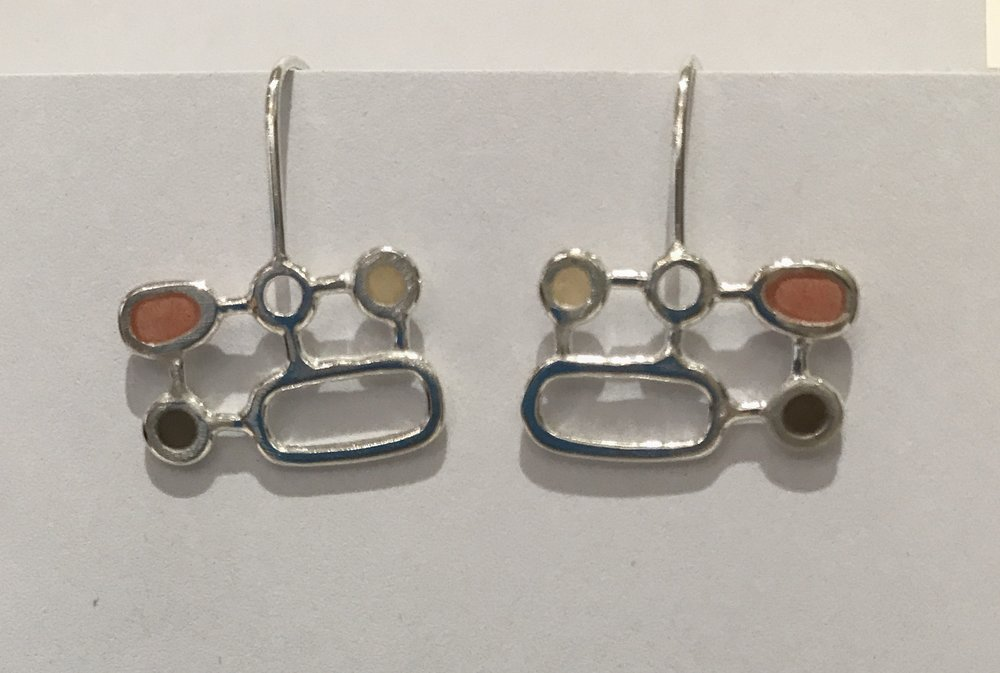Organic geometric earrings , sterling silver and resin, $80