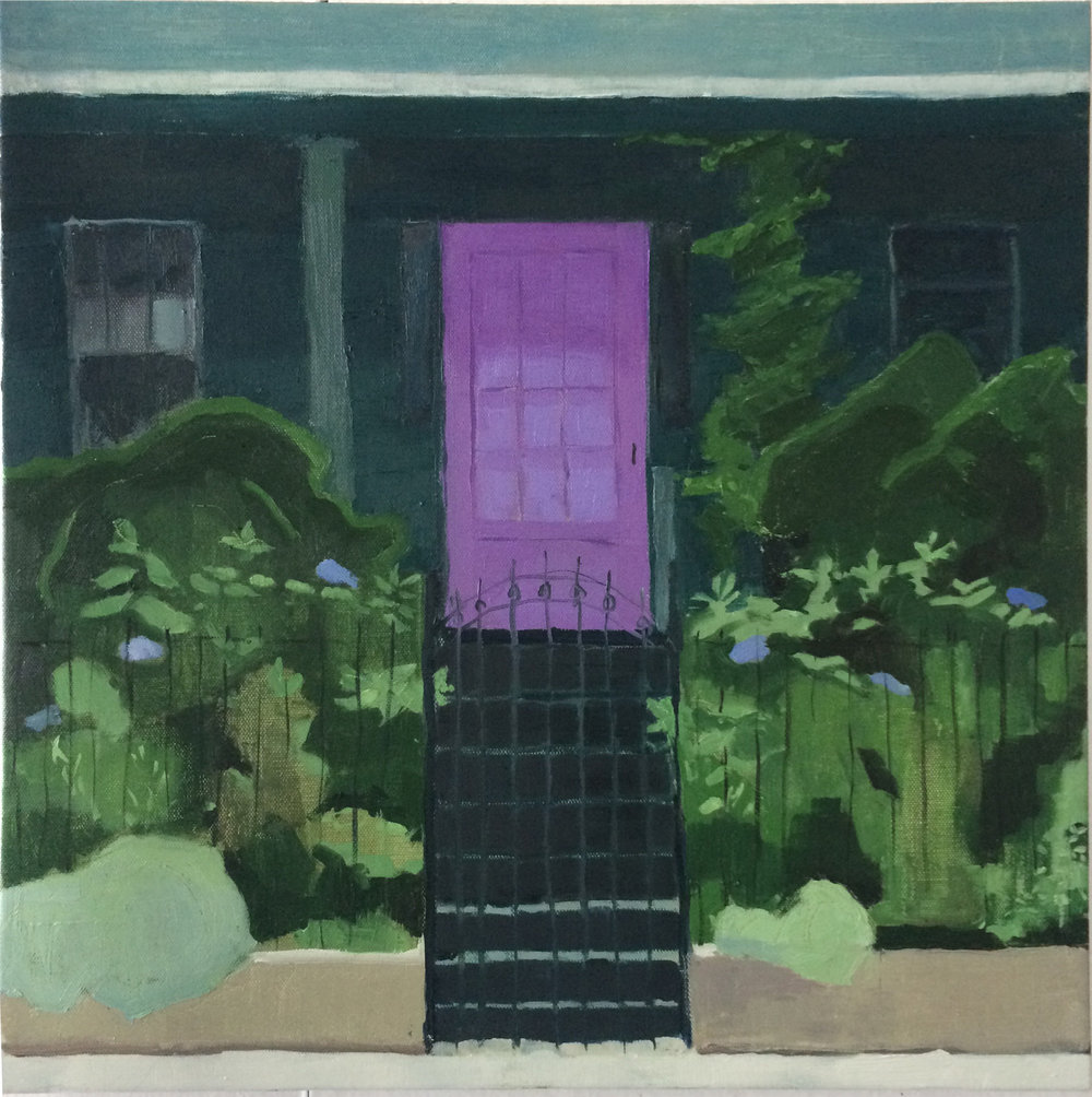"Juliana Gamble ,  The Purple Door , oil on canvas, 18 3/4"" x 18 3/4"" framed, $750"