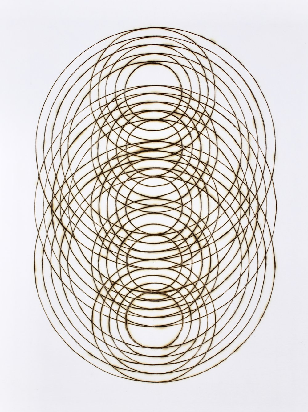 "Katrine Hildebrandt,  Ripple Stack , burnt lines on paper, 15"" x 12"" framed, $400"