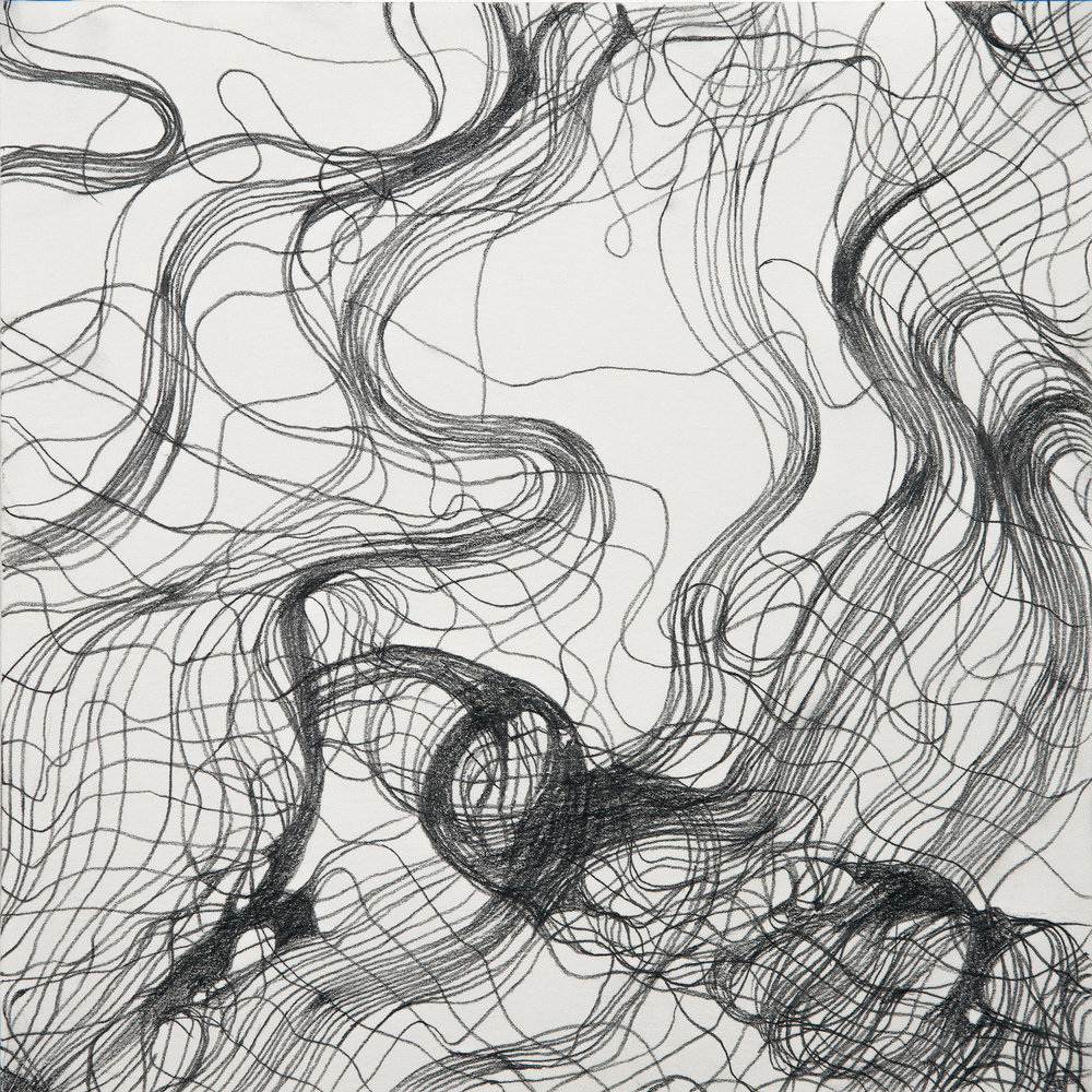 "Lynda Schlosberg ,  Interwoven Study 1 , graphite on paper, 16"" x 16"" framed, $450"